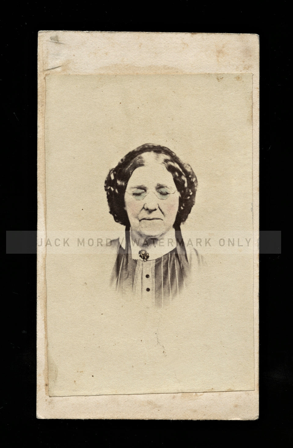 Unique 1860s CDV Photo - Possible Post Mortem Woman - Tinted Eyeglasses!