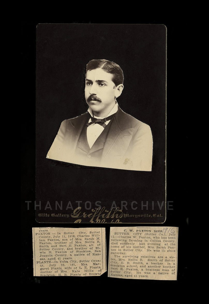 Unusual Memorial Cabinet Card & Original Obituary Clippings