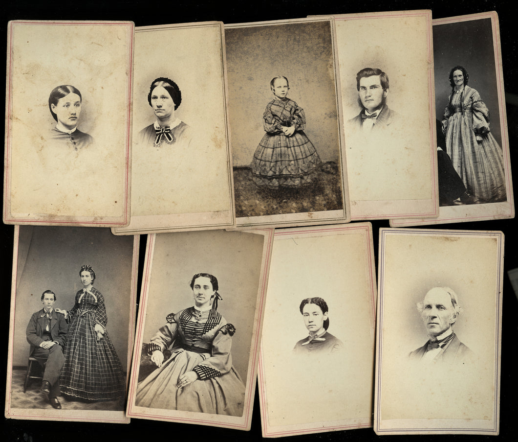 Lot of Civil War Era 1860s CDV Photos Champlain New York Photographer LP Case