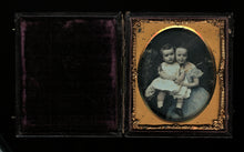 Load image into Gallery viewer, 1/6 Tinted Daguerreotype of Children by CH WILLIAMSON Brooklyn Advertising Case