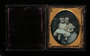 1/6 Tinted Daguerreotype of Children by CH WILLIAMSON Brooklyn Advertising Case