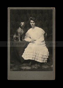 Great Antique Photo Pretty Girl & Cute Dog - Texas 1890s 1900s