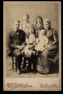 old victorian era belfast maine family group photo - neat spider web graphic!