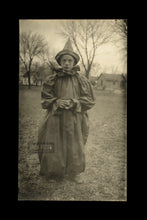 Load image into Gallery viewer, Creepy Kid Circus Clown Antique 1910s Halloween Costume RPPC Photo Black & White