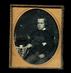 1/6 Daguerreotype Long Hair Boy in Uniform, Cap on Table - Army / Military Cadet