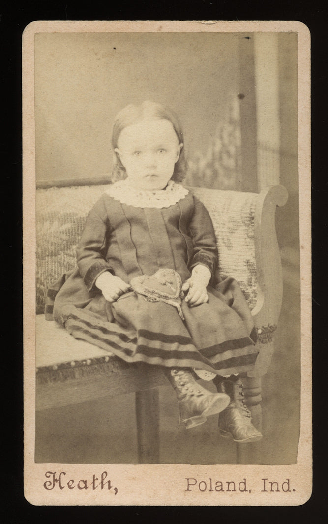 Antique CDV Little Girl Holding a Valentine's Day Heart on Lap