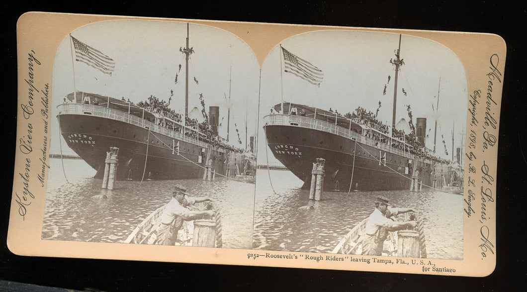 Stereoview Photo President Roosevelts Rough Riders on Ship Sailors Soldiers