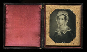 1850s Daguerreotype Painting of Revolutionary or Colonial Era Woman