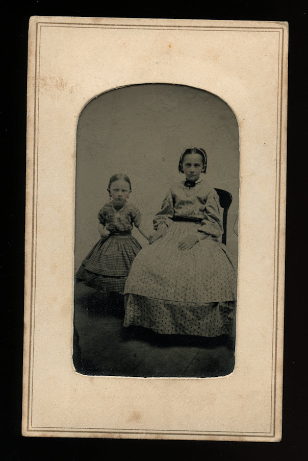 1860s Tintype Cute Little Girls, Sisters Holding Hands