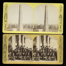 Load image into Gallery viewer, 2 Boston Suburbs Photos Antique Stereoviews Bunker Hill Group of Men / Political