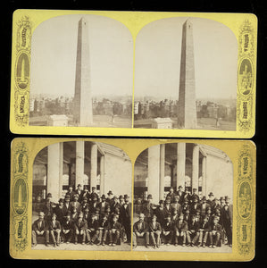 2 Boston Suburbs Photos Antique Stereoviews Bunker Hill Group of Men / Political