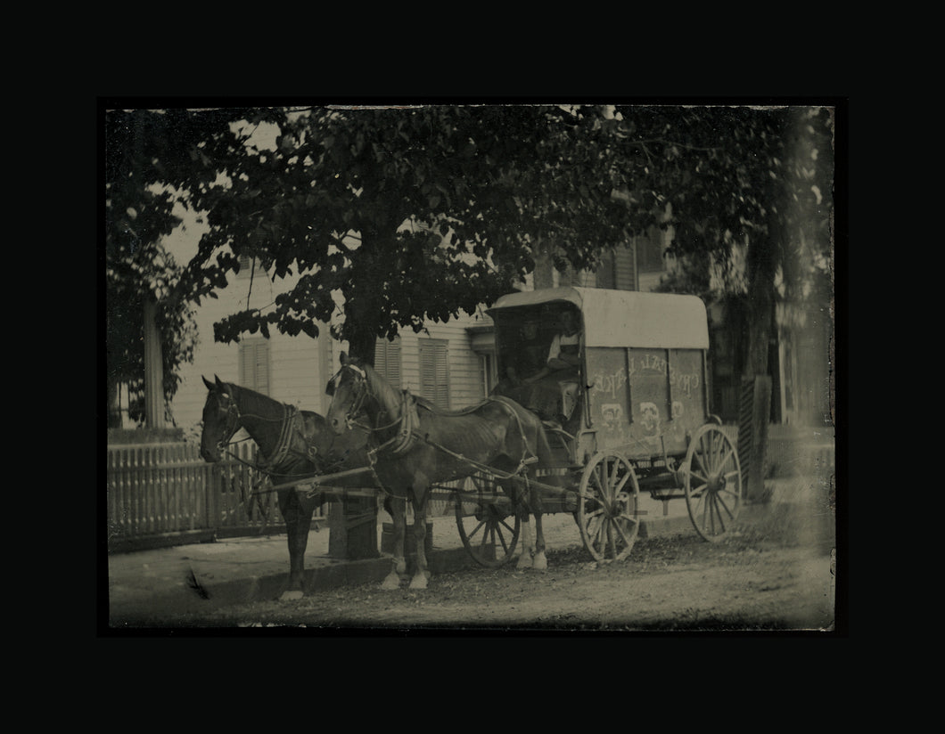 Occupational Tintype Men in Leather Aprons in CRYSTAL LAKE Wagon - Outdoor Photo
