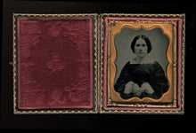 Load image into Gallery viewer, nice c 1860 tintype in full case, pretty woman, tinted pink cuffs & gold jewelry