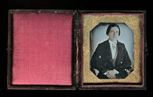 Load image into Gallery viewer, 1840s Paper Mat Daguerreotype Well Posed Young Man Tinted Face & Hands Wisconsin