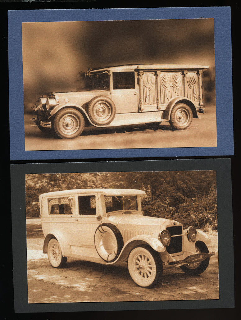 Two Prints of Early 1900s Funeral Cars / Hearses