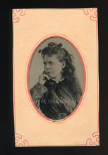 Load image into Gallery viewer, unusual 1870s tintype photo Grumpy Girl! semi profile, tinted jewelry, tennessee