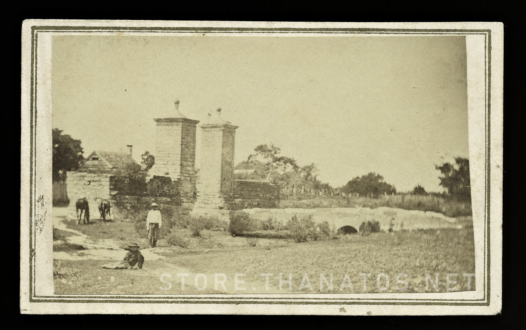 Rare 1860s CDV City Gates of St. Augustine by Florida Photographer Geo. Pierron