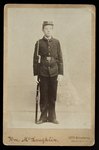 Young ID'd Army Soldier with Rifle & Bayonet - Antique Indian Wars Era Photo