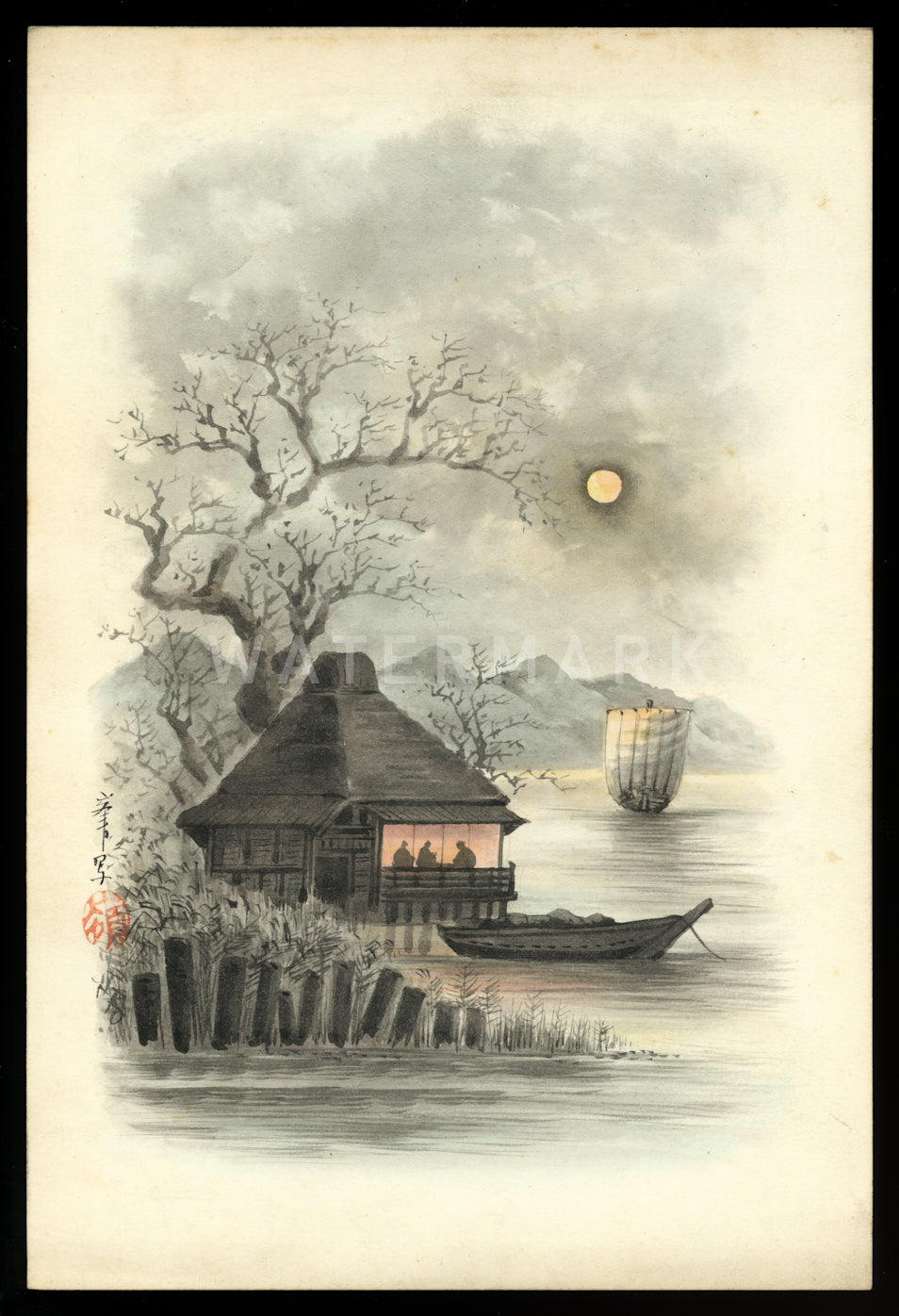 antique 1800s Japan Meiji Period Watercolor Art Painting / Kelly & Walsh Signed