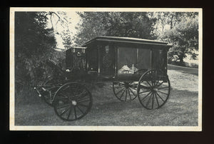 Vintage Postcard of an 1890s Hearse / Funeral Home Advertising Card