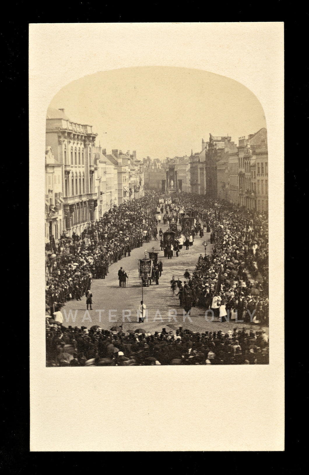 Rare 1860s Photo Outdoor Street Scene Big Crowd Buildings Religious Procession
