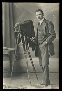 Photographer with Camera on Tripod / Vintage Real Photo Postcard