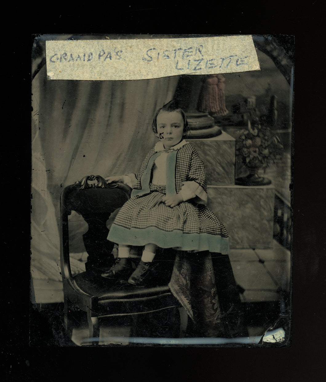 tinted 1/6 ambrotype photo little boy or girl id'd - probably new york, 1850s