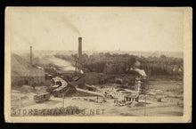 "Load image into Gallery viewer, Rare 8""x5"" Cabinet Photo SMELTING PLANT with Workers, Train / Pueblo Colorado c.1880"