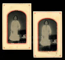 Load image into Gallery viewer, Seeing Double Tintypes, Girl with Tinted Hat - A Bit Creepy!
