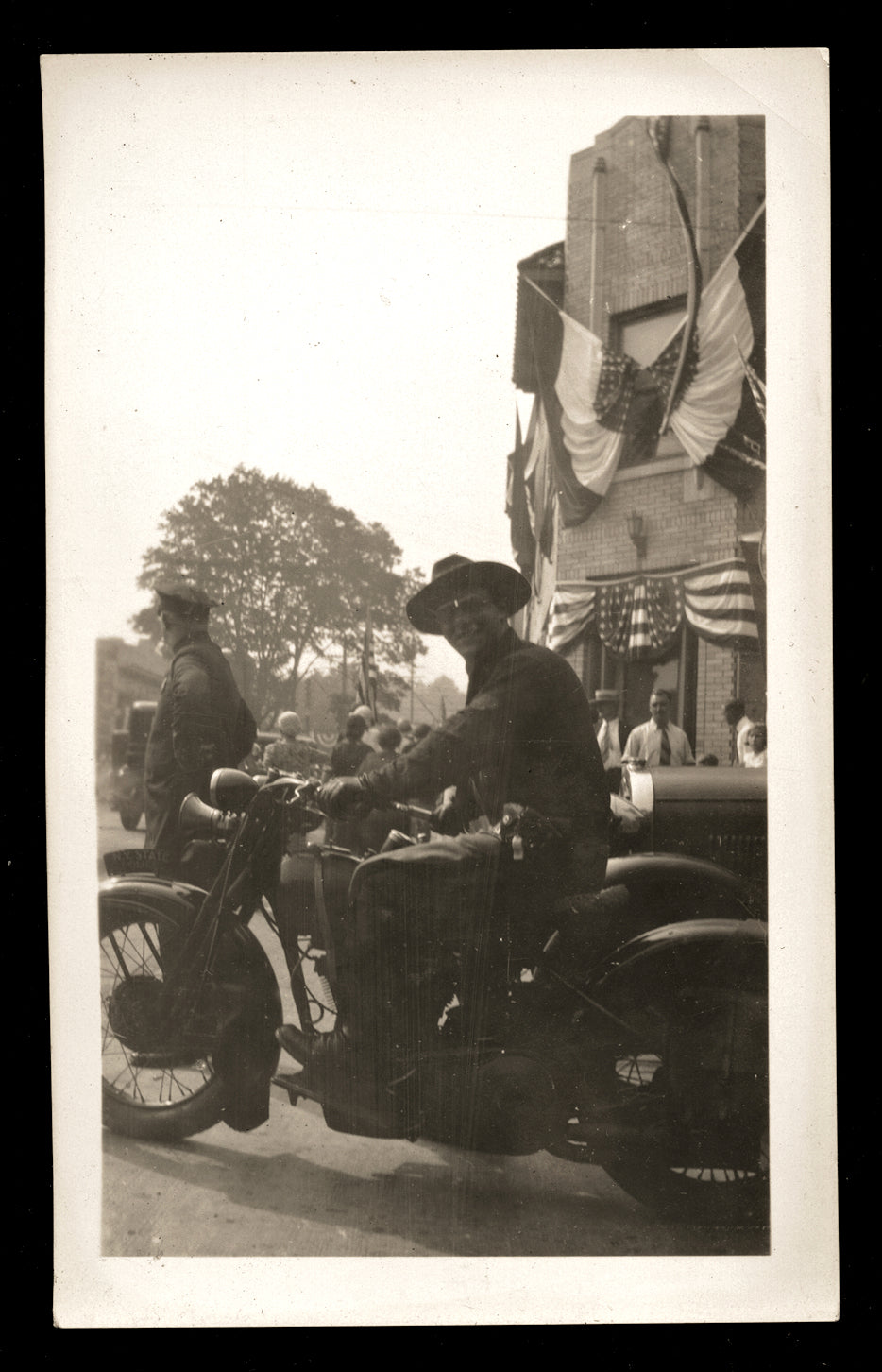 Armed New York State Police Officer Riding Motorcycle Vintage Snapshot Photo