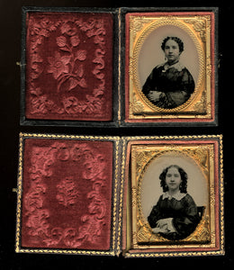 2 Sphereotype / Ambrotypes of Same Woman by Vermont Photographer Caleb L Howe