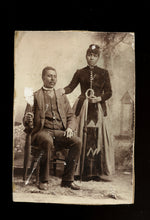 Load image into Gallery viewer, antique 19th century photo african american / black couple with umbrellas