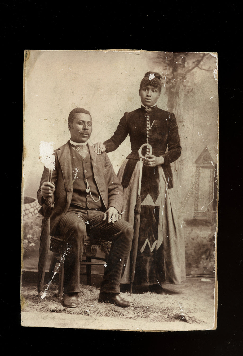 antique 19th century photo african american / black couple with umbrellas