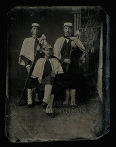 Rare Political Campaign Tintype Photo 3 Parade Marchers Capes Holding Torches