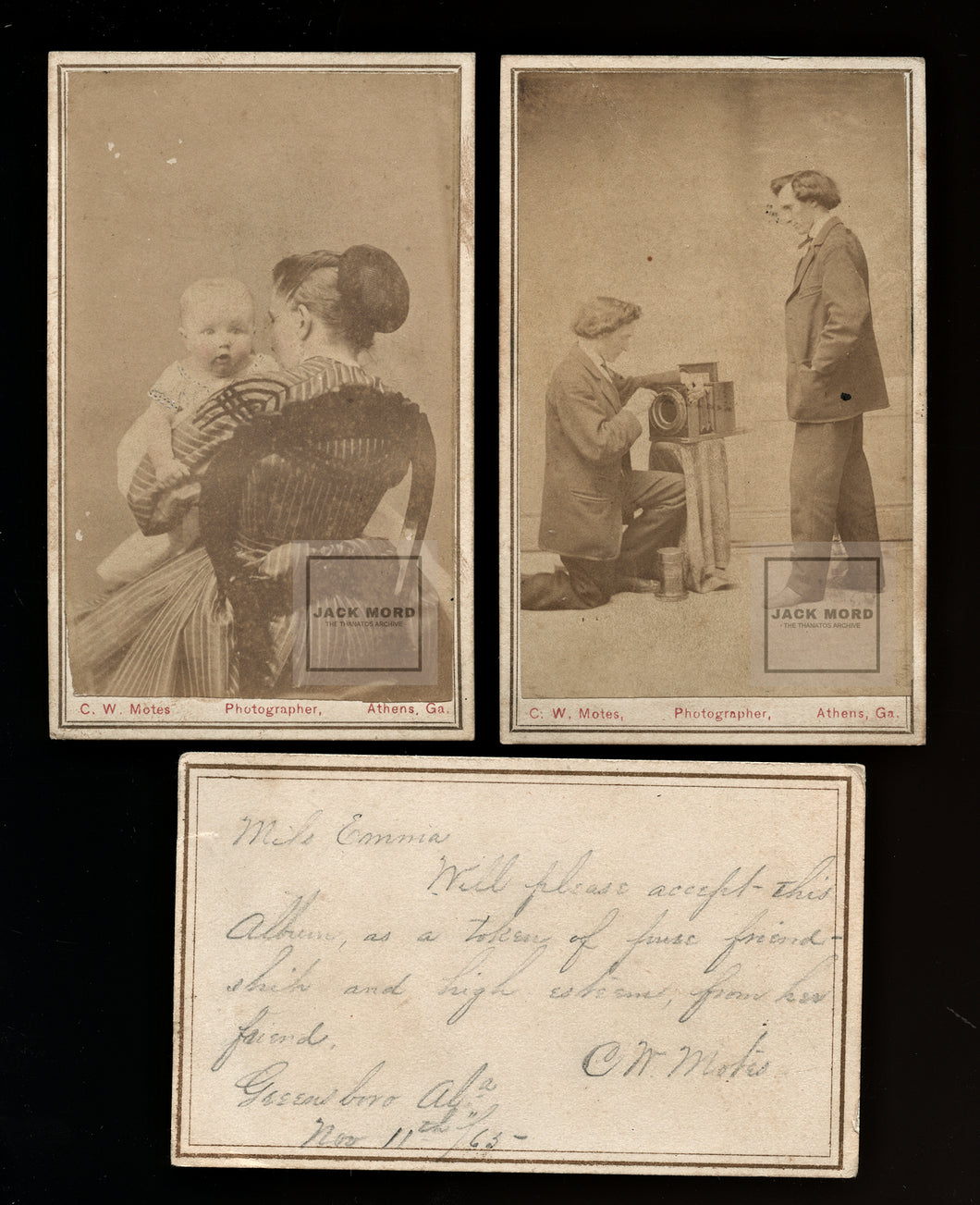 1860s Georgia Photographer Motes w Camera & Family Civil War Confederate Soldier