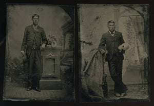 two antique tintypes photos native american or mexican men, friends