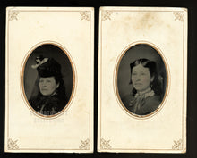 Load image into Gallery viewer, antique tintype set woman in mourning clothes - 1870s photo - taken on same day