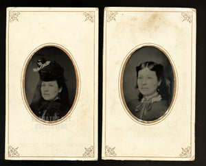 antique tintype set woman in mourning clothes - 1870s photo - taken on same day