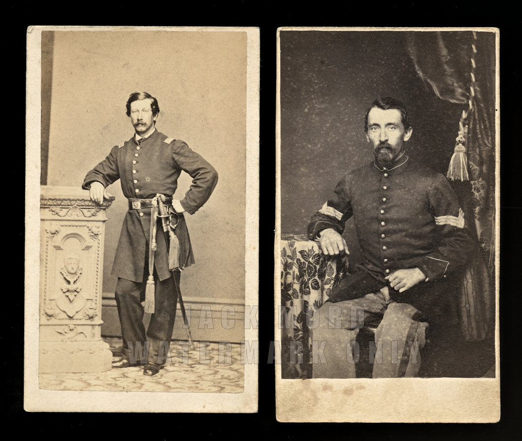 Two Civil War Soldiers CDV Photos incl Armed Officer / Philadelphia Photographer