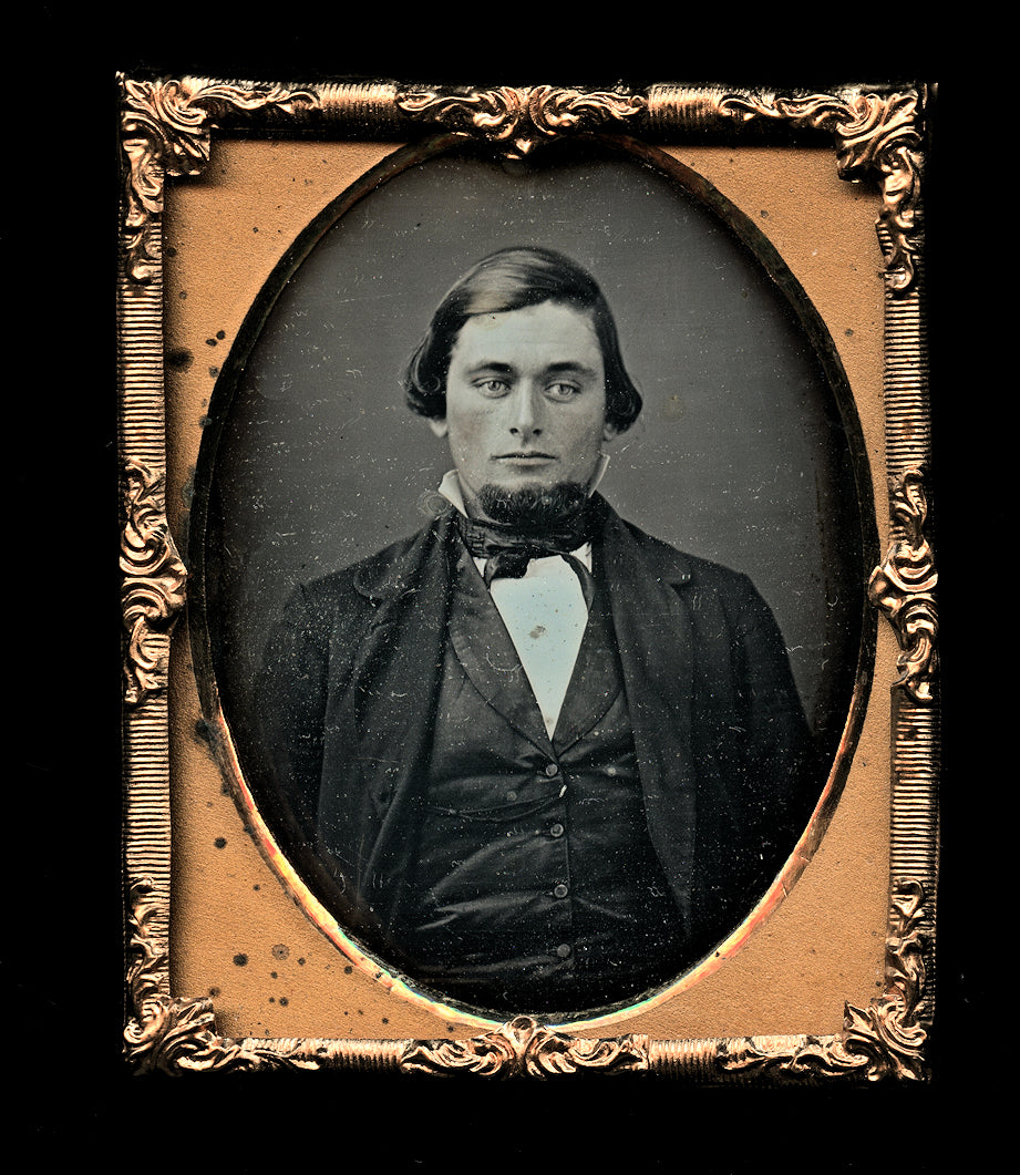 handsome man in suit chin beard 1850s daguerreotype