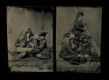Load image into Gallery viewer, Great Set of Tintype Victorian Girls Having Picnic, Fishing, One Hidden Face