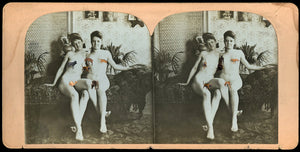 Rare Antique 3D Stereoview Photo - Nude Girlfriends!