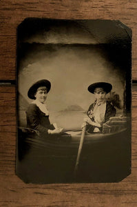 Antique / 1800s Tintype Photo Two Girls Young Women Rowing A Prop Boat - EXCOND!