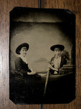 Load image into Gallery viewer, Antique / 1800s Tintype Photo Two Girls Young Women Rowing A Prop Boat - EXCOND!