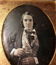 Load image into Gallery viewer, Early 1840s 6th Plate Daguerreotype Handsome Wealthy Teen Boy with Walking Stick