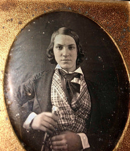 Early 1840s 6th Plate Daguerreotype Handsome Wealthy Teen Boy with Walking Stick