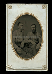 1800s tintype Photo Men friends working clothes smoking cigars ID'd