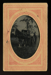 People Riding in Horse & Buggy - Outdoor Tintype 1890s