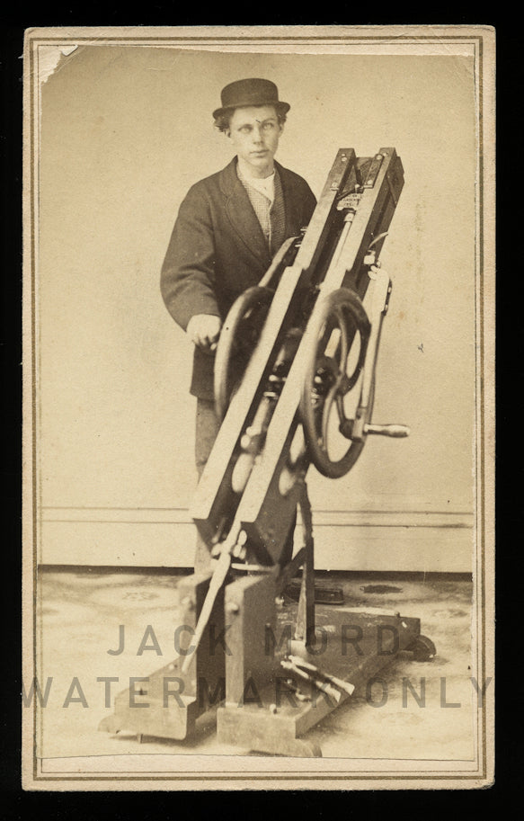 Rare 1860s c.1870 CDV Photo Man Posing with Rock Drill