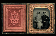 Load image into Gallery viewer, 1860s tintype of men friends in hats & jackets - civil war tax stamps on back